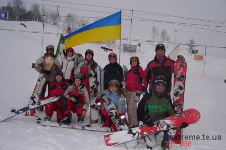Збірна команда України з сноубордингу на етапі Кубка Європи в С.-Петербурзі в грудні 2005 року